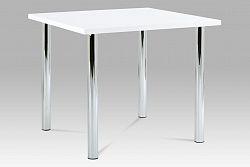 Autronic Jídelní stůl AT-1913B WT 90x90 cm, chrom / vysoký lesk bílý