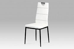 Autronic Jídelní židle AC-1220 WT, koženka bílá/černý lak