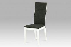 Autronic Jídelní židle, bílá / látka šedo-hnědá, C-188 WT