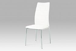 Autronic Jídelní židle, chrom/koženka bílá, AC-1295 WT