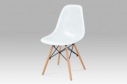 Autronic Jídelní židle CT-718 WT1, plast bílý / natural