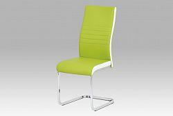Autronic Jídelní židle DCL-429 LIM, limetkově zelená/bílá koženka/chrom