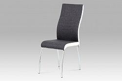 Autronic Jídelní židle DCL-433 GREY2, šedá látka + bílá koženka / chrom