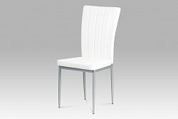 Autronic Jídelní židle, koženka bílá / šedý lak AC-1287 WT