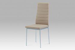 Autronic Jídelní židle, koženka cappuccino / šedý lak, DCL-117 CAP
