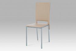 Autronic Jídelní židle, koženka cappuccino / šedý lak DCL-245 CAP