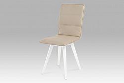 Autronic Jídelní židle, koženka cappuccino / vysoký lesk bílý, B829 CAP1