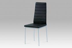 Autronic Jídelní židle, koženka černá / šedý lak, DCL-117 BK