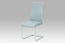 Autronic Jídelní židle, koženka světle šedá/chrom, HC-649 GREY1