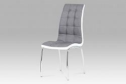 Autronic Jídelní židle, látka šedá / chrom DCL-420 GREY2