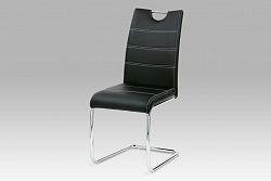 Autronic Jídelní židle WE-5076 BK, chrom/koženka černá s bílým prošitím