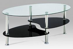 Autronic Konferenční stolek GCT-302 GBK1, čiré sklo/černé sklo/leštěný nerez