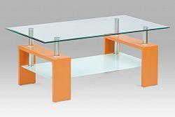 Autronic Konferenční stůl, oranžová/sklo čiré, mléčná polička, AF-2024 ORA