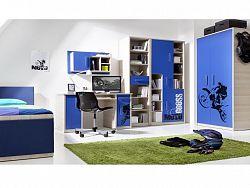 BREGI dětský pokoj, jasan/modrá+motocross ZRUŠENO