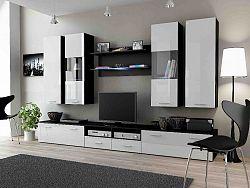 CAMA DREAM II, obývací stěna, černá/bílý lesk