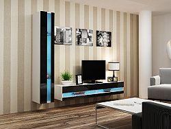 CAMA *Obývací stěna VIGGO NEW 8, bílá/černý lesk