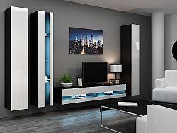 CAMA Obývací stěna VIGO NEW 7, černá/bílý lesk