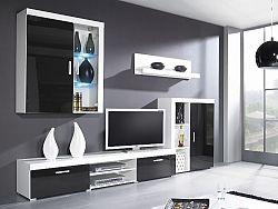 CAMA *SAMBA A, obývací stěna, bílá/černý lesk