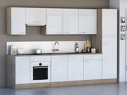 DEMEYERE Kuchyně CHANTILY 310 cm, VZOROVÁ SESTAVA, bílý lesk