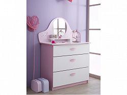 DEMEYERE PAPILON, komoda se zrcadlem, bílá/růžová