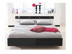 DEMEYERE STRAIS, postel 140x190 cm, bílá/černý lesk