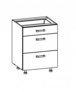 EDAN dolní skříňka D3S 60 SAMBOX, korpus šedá grenola, dvířka béžová písková