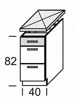 Extom KAMDUO, dolní skříňka DUO DS4/3, dub sonoma/láva