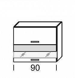 Extom KAMDUO, horní skříňka DUO WO2W_9/72, hruška/ořech