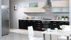 Extom Kuchyně PLATINUM 320/380 cm, korpus jersey, dvířka vanilla + black