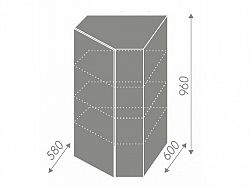 Extom QUANTUM, skříňka horní rohová W4/10 60, white mat/bílá