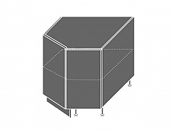 Extom TITANIUM, skříňka dolní rohová D12R 90, korpus: grey, barva: fino bílé