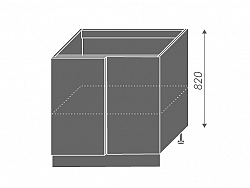 Extom TITANIUM, skříňka dolní rohová D13 U, korpus: grey, barva: fino černé