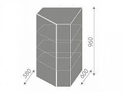 Extom TITANIUM, skříňka horní rohová W4/10 60, korpus: lava, barva: fino bílé