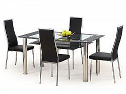 Halmar Jídelní stůl CRISTAL černý, kov/sklo