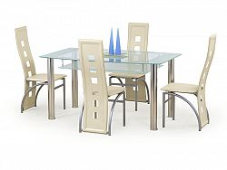 Halmar Jídelní stůl CRISTAL mléčný, kov/sklo