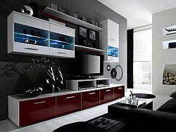 Halmar LOGO II, obývací stěna, bílá/bordo lesk