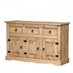 Idea Komoda CORONA 3 zásuvky + 3 dveře, masiv borovice, vosk