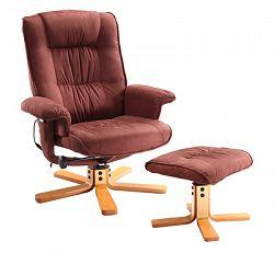 Idea Relaxační masážní křeslo s podnožkou K47, hnědé