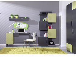 LIDO dětský pokoj, šedá/grafit+zelená ZRUŠENO