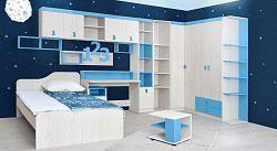 MATIS NUMERO dětský pokoj - vzorová sestava, dub bílý/modrá