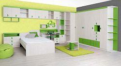 MATIS NUMERO dětský pokoj - vzorová sestava, dub bílý/zelená