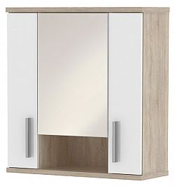 MB Domus LINDA, skříňka horní LI01 se zrcadlem, dub sonoma/bílý lesk
