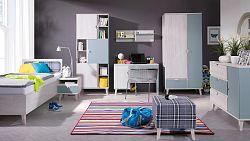 MEMONE dětský pokoj, dub bílý/dusk blue
