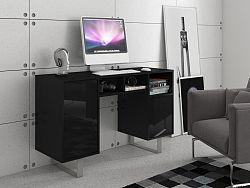 MORAVIA FLAT KING 9 psací stůl, černá/černý lesk