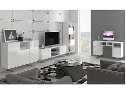 MORAVIA FLAT KING obývací pokoj - sestava 2, bílá/bílý lesk