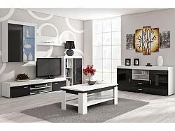 MORAVIA FLAT Obývací stěna MAMBA, bílá/černý lesk