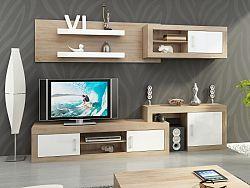 MORAVIA FLAT Obývací stěna VERIN 1, dub sonoma sv./bílý lesk