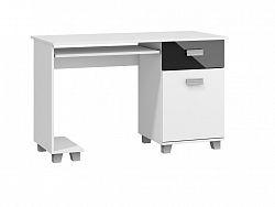 MORAVIA FLAT PC stůl se zásuvkou a skříňkou SOLO, SOL-01, bílý/černý lesk