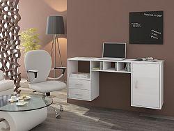 MORAVIA FLAT Psací stůl HANGER, bílá/bílý lesk