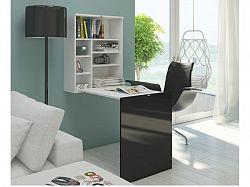 MORAVIA FLAT Psací stůl HIDE, bílá/černý lesk